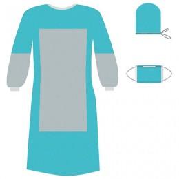 Комплект одноразовой одежды для хирурга КХ-03 с усиленной защитой ГЕКСА стерильный, 3 предмета